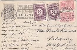 ÖSTERREICH NACHPORTO 1924 - 100 + 600 Kronen Nachporto + 100 + 200 + 200 Kronen Auf SV-Karte Nr.180, Bund Der Deu ... - 1918-1945 1. Republik