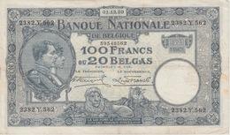 100 FRANCS OU 20 BELGAS 1ER DECEMBRE 1930 - [ 2] 1831-... : Royaume De Belgique
