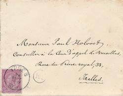 518/27 - Enveloppe TP 46 YPRES 1890 Vers IXELLES - Verso Ecusson De La Noblesse D' Ypres - 1884-1891 Leopold II