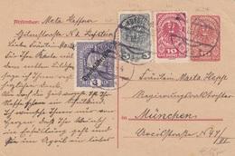 ÖSTERREICH 1920 - 10 Heller Ganzsache Mit 3 + 3 + 10 Heller Zusatzfrankierung Auf Pk Gel.v. Kufstein > München - 1918-1945 1. Republik