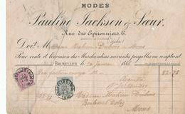 520/27 - RECU De Facture Modes Jackson § Soeur TP 39 Et 46 ( MIXTE) - BRUXELLES Midi 1884 Vers MONS - 1883 Leopoldo II