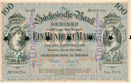 100 MARKS BANQUE SAXONNE 1890 - 1871-1918: Deutsches Kaiserreich