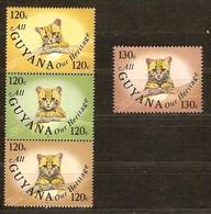 Guyana Guyane 1985 Yvertn° 1113-1116 *** MNH Cote 34 FF Faune Chats Sauvage Wilde Katten Cats - Guyane (1966-...)