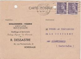 Carte Commerciale 1941 / DESSASTRE / Boulonnerie Visserie / 33 Bordeaux - Maps