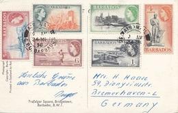 BARBADOS 1958 - Sehr Schöne 6 Fach Sondermarkenfrankierung Auf Ak Barbados Trafalgar Square (Auto, Polizist, Bus) - Barbados (...-1966)