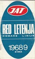 JAT YUGOSLAV AIRLINES TIMETABLE DOMESTIC FLIGHTS WINTER 1968/69 - Europe