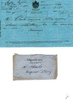 TELEGRAMME Mdle 1866 Armoiries Empire  De Rodez à Toulouse Avec Enveloppe - Telegraph And Telephone