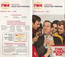 TWA QUICK WAY TIMETABLE CHICAGO JULY 1st 1969 - Monde