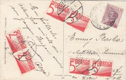 ÖSTERREICH NACHPORTO 1923 - 2x2 + 4x5 Gro (2xAnk133+4xAnk136) Nachportofrankierung + 20 L Auf Ak Glückwunschkarte, ... - Portomarken