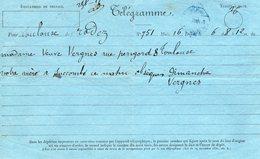 TELEGRAMME Napoléon III  De Rodez à Toulouse - Télégraphes Et Téléphones