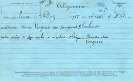 TELEGRAMME Napoléon III  De Rodez à Toulouse - Telegraph And Telephone