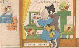 Illustrateurs,Jipé - Couple De Chats - Tiens ! Un Restaurant - Other Illustrators