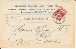 CARTE COMMERCIALE E. ROMBAUX ROLAND - CARIERE SCIERIES  -  1906 - CACHET ECAUSSINNES - LEOPOLD II GROSSE BARBE - 1905 Thick Beard