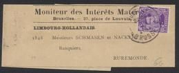 """N°139 Sur Bande Journal """"Moniteur Des Intérêts Mater..."""" De Bruxelles Vers Ruremonde (Limbourg Hollandais). - 1915-1920 Albert I"""