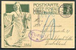 1909 Switzerland UPU Stationery Postcard Fribourg - Frankfurt Germany. Taxe Porto, Postage Due - Switzerland