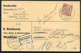 1935 Switzerland Drucksache Nachnahme Porto Postcard. Reinhard Melchnau - Goldiwil Allmendingen Redirected Retour - Switzerland