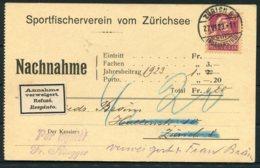 1923 Switzerland Nachnahme Postcard. Sportfischerverein Vom Zurich. Annahme Refuse Respinto Retour - Switzerland