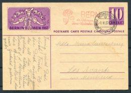 1937 Switzerland Bern In Blumen Flowers Stationery Postcard. Automobil Postbureau / Mobile Post Office - Postmark Collection