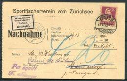 1923 Switzerland Nachnahme Postcard. Sportfischerverein Vom Zurich - Mannedorf. Annahme Refuse Respinto Retour - Switzerland