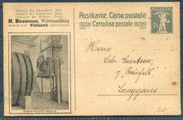 Switzerland Private Stationery Postcard. H. Baumann, Weinhandlung, Wadenswil. Wine Merchant - Stamped Stationery