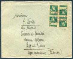 Switzerland 10c Tell (K18) Se-Tenant Block Of 4 Cover. Berne - Gagnes Sur Mer, France - Se-Tenant