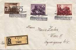 ÖSTERREICH 1937 - 12 + 25 + 35 Gro Frank.auf R-Brief (Eisenbahnjubiläum Wien-Floridsdorf), 3 Sonderstempel - 1918-1945 1. Republik