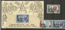 Timbres Van Diemen's Land 1858,One Penny 1841,Norfolk 1947. Timbres Sur Timbres. B-F + Série Oblitérés, 1 ère Qualité - Norfolk Island