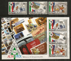 Postal History Norfolk Island,  Timbres Sur Timbres. Bloc-feuillet + Série Oblitérés, 1 ère Qualité - Norfolk Island