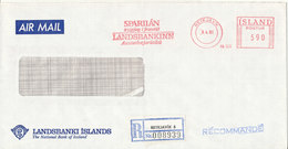 Iceland Registered Bank Cover With Meter Cancel Reykjavik 8-4-1981 (Landsbanki Islands) - 1944-... Republik