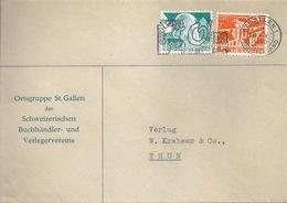"""Motiv Brief  """"Schweiz.Buchhändler/Verleger, St.Gallen""""  (Flagge Olma)      1950 - Suisse"""