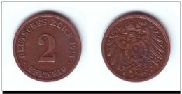 DEUTSCHES REICH 2 PFENNIG 1913 - [ 7] 1949-… : FRG - Fed. Rep. Germany