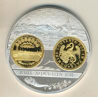 Schweiz,Große Meaille,versilbert,Helvetische Währungsgeschichte,in Kapsel 7x3cm,133gr. (54000) - Schweiz
