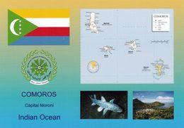 1 AK Comoros Islands * Flagge, Wappen, Landkarte Und 2 Ansichten Von Den Komoren * - Comoros