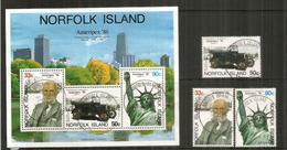 """Ford Modèle """"T"""" Ford, Statue Liberté New-York, Ameripex Norfolk Island. Bloc-feuillet + Série Oblitérés, 1 ère Qualit - Norfolk Island"""