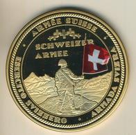 Schweiz,Große Meaille,vergoldet,Die Streitmacht Der Schwezerischen Eidgenossenschaft,in Kapsel 7x3cm,133gr. (54001) - Schweiz