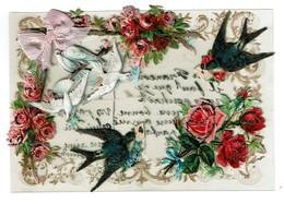 C1910 - Carte Celluloïd - Collage De Chromos Fleurs / Oiseaux - Ruban - 2 Scans - Cartes Postales