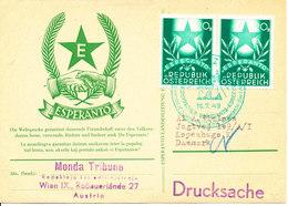 Austria Card ESPERANTO Stamps And Cachet Sent To Denmark 16-7-1949 - Esperanto
