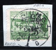 Fiume 1919 25 Su 50c. Con Doppia Soprastampa Di Cui Una Capovolta Sass. D82d Su Frammento VF Cert. Sorani - Fiume