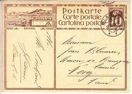 ENTIER - IMAGE DU GRIMSEL AVEC AUTOBUS - BELLE PIECE - 1929 - Entiers Postaux