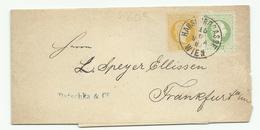 Bande Journal (entier) 2 Kr + 3 Kr De Wien Habsburgrasse  Pour Frankfurt - Cartas
