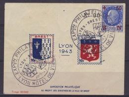 Bloc-feuillet Gommé Exposition Philatélique De Lyon, Aux Profits Des Sinistrés De Brest, 1943, (petits Défauts). - Blocs & Feuillets
