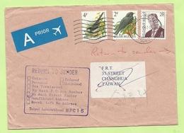 2458+2474+2661 Op Brief Stempel BRUSSEL Naar TAIWAN, Stempel RETURN TO SENDER (B8160) - 1985-.. Birds (Buzin)