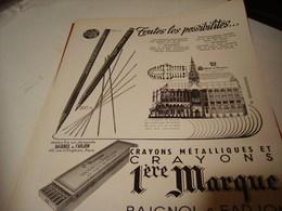 ANCIENNE PUBLICITE CRAYON METALIQUE DE BAIGNOL ET FARJON 1950 - Autres