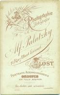 Ongebruikte Fotodrager Van Alfred Palatzky, Rue Albert Liénard, Alost - Fotograaf Te Aalst Tussen 1894 En 1899 - Material Y Accesorios