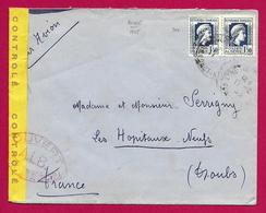 Enveloppe Expédiée Par Avion En 1945 - Voyagée De Bône Ou Annaba En Algérie Vers Les Hôpitaux Neufs Dans Le Doubs - Algérie (1924-1962)