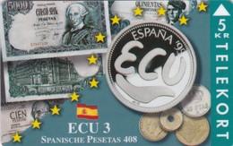 Denmark, TP 094B, ECU-Spain, Mint Only 1200 Issued, Coins, Notes, Flag, 2 Scans. - Denmark
