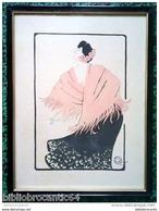 """LITHOGRAPHIE ET POCHOIR * FEMME AU CHALE * SIGNEE """" PVZ"""" En 1904 - Lithographies"""