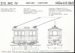 Fiche --- 212.Mc  IV -- Martigny - Chatelard -- HGe 2/2 2&3 - Chemins De Fer