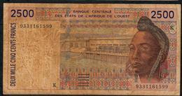 W.A.S. SENEGAL P712Kb 2500 FRANCS (19)93. FINE - Senegal