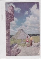 MAYAM PYRAMIDS OF CHICHEN ITZA, YUCATAN. PAN AMERICAN WORLD AIRWAYS. STAMP AVEC BORD DU PLAQUE CIRCULEE GUATEMALA- BLEUP - Reclame